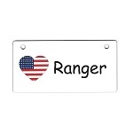 USA Heart Flag Crate Tag Personalized With Your Dog's Name